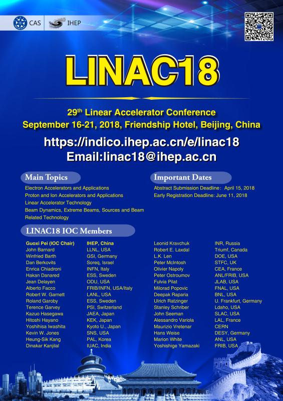 29th Linear Accelerator Conference-LINAC18 (16-September 21